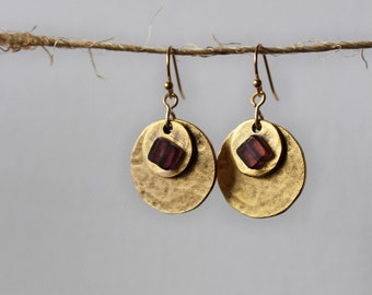 Gold Dangle Earrings - Bohemian Jewelry - Featuring Hammered Gold with Purple Beads