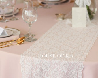 Lace Table Runner Roll 12 1/2 inches x 25 yd Warm White, Soft Floral Lace Fabric Roll, Lace Ribbon | Lace Table Runners, Wedding Table Decor