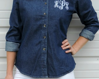 Ladies Monogrammed Long Sleeve Denim Shirt
