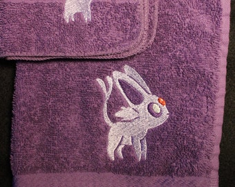 Espeon Embroidered Towel Set (1 Hand Towel, 1 Washcloth) Made to Order