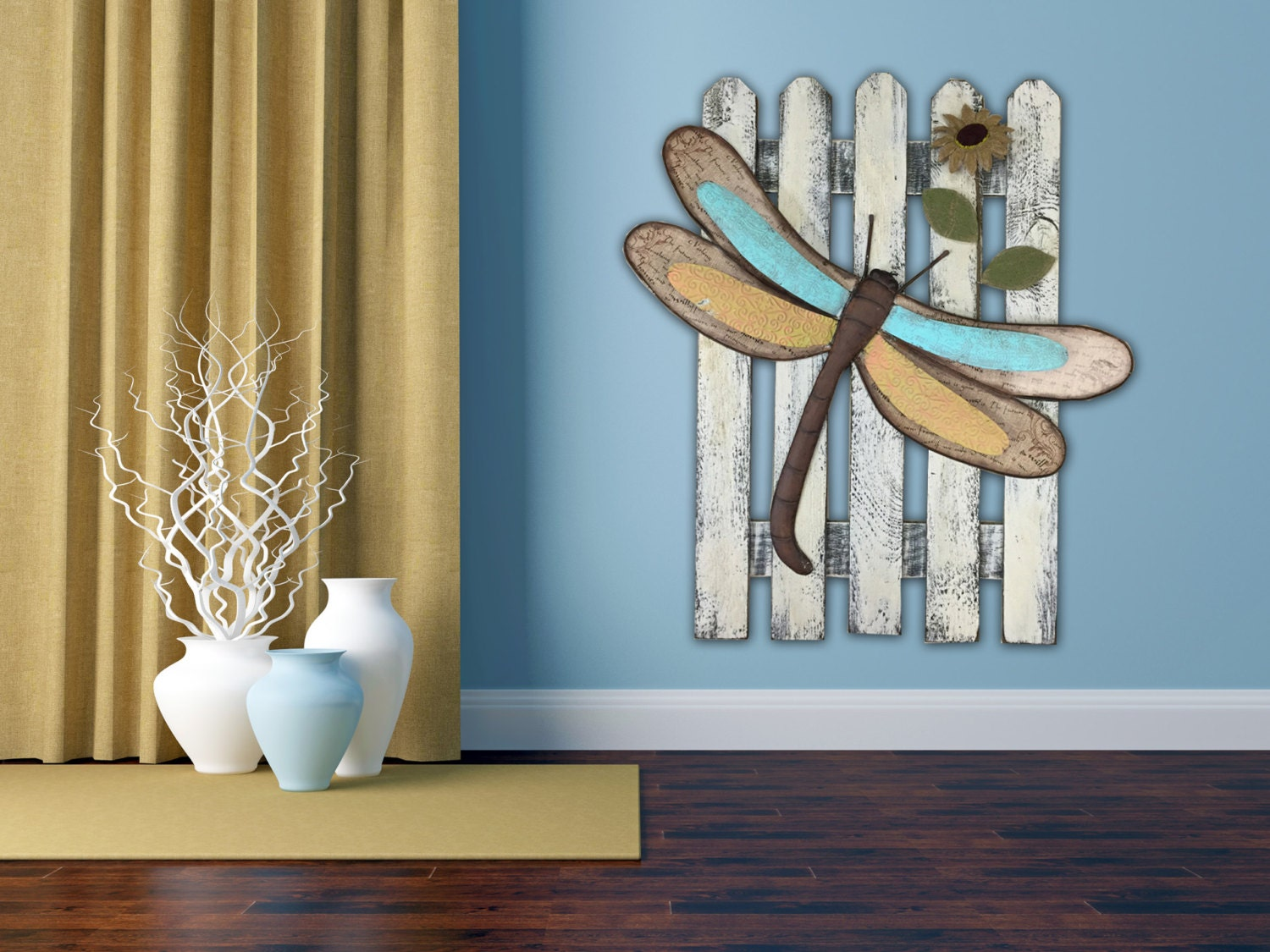 Wall Art Dragonfly Reclaimed Fence Home Decor Metal