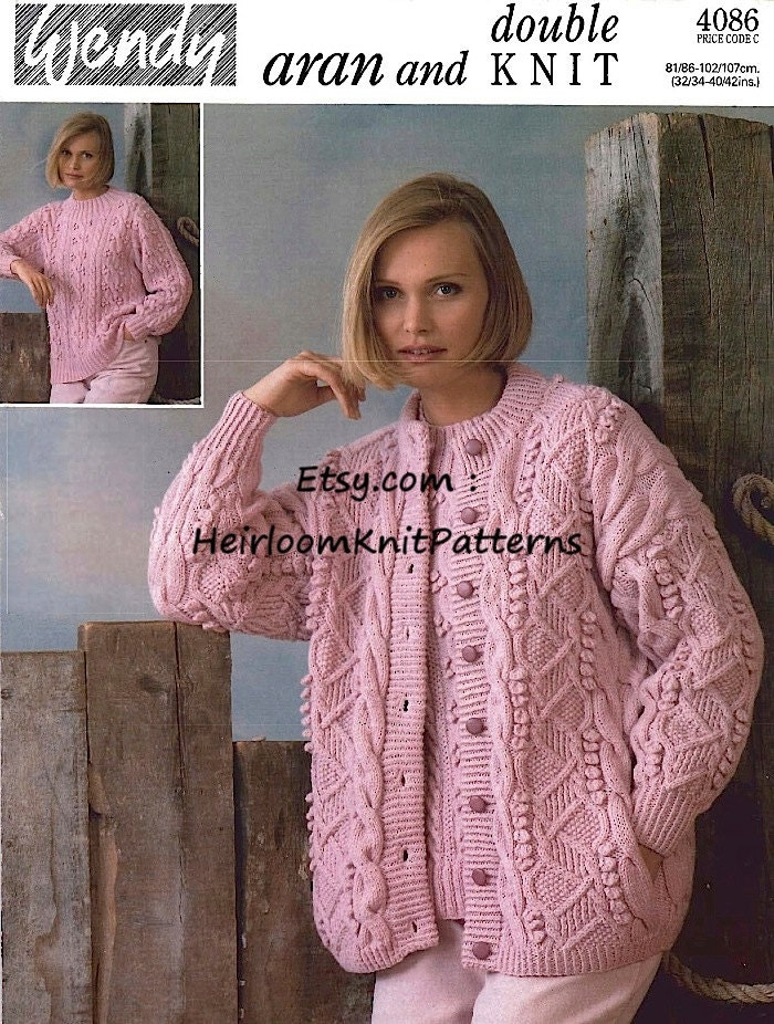 Free Knitting Patterns For Capes : Womens Aran Cardigan Sweater Vintage Knitting Pattern in