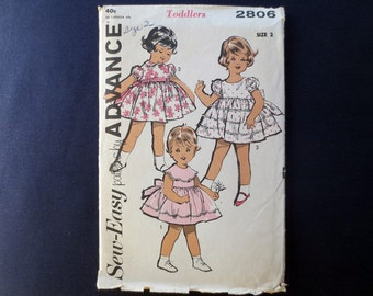 1960s Toddlers Flared Dress Vintage Pattern, Advance 2806, Size 2, Breast 21