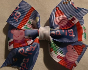 Peppa Pig Christmas Hair Bow, Christmas Peppa Pig Hair Bow, Peppa Pig Hair Bow, Peppa Hair Bow, Peppa Pig Bow, Christmas Bow