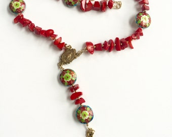 Coral Red Rosary Necklace