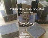 Ayurveda Emerald Shampoo Bar experience, ancient remedy to bring life to dull hair, shines after using shampoo bar! Great for #Dreadlocks