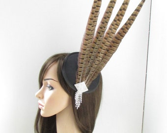 Brown Black Silver Pheasant Feather Fascinator Headpiece Vintage Races 1940s Y61