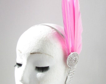 Pink & Silver Tall Feather Headpiece Fascinator Headband Vintage Races 1940s Y35