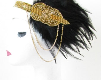 Black & Gold Feather Headpiece Vintage 1920s Headband Flapper Great Gatsby Headdress Dress Charleston Glitter Chain 1930s Fascinator R64
