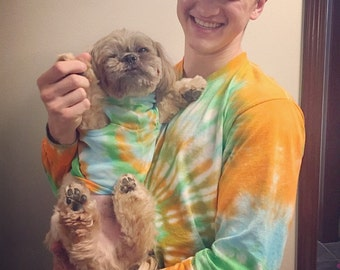 Tie Dye Dog & Owner Matching Set - Hippie - Michigan made - Handmade - Dog Shirt - Long Sleeve - T-shirt