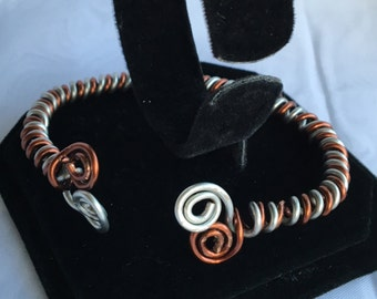 Copper and Silver Metal Bracelet B167-814