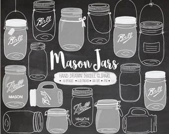 Chalkboard Mason Jar Clip Art. Hand Drawn White Mason Jar Clipart. Chalk Wedding Mason Jar Illustration. Digital Doodle Jar, Pitcher, Jug.
