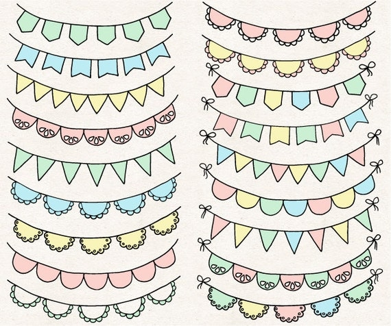 ON SALE. Bunting Banner Clip Art. Doodle Flag by ...