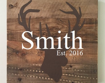 Custom Deer Sign // Personalized // Gifts for Her // Gifts for Him // Housewarming // Wedding Gift  // Home Sign