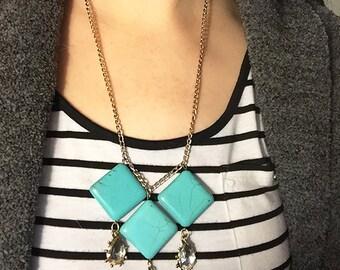 teal stone necklace, necklace, teal necklace, stone necklace, teal, stone, jewelry, stone jewelry, turquoise stone, turquoise necklace