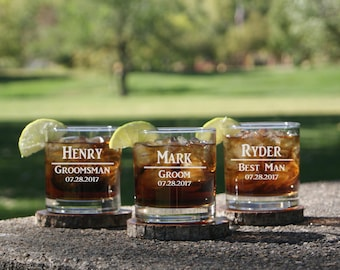 Personalized Whiskey Glasses / Groomsmen Gifts / Rocks Glasses / Engraved / Custom Etched Glasses / 16 DESIGNS / Select ANY Quantity