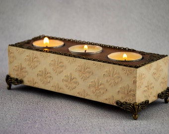 Victorian Home Decor Wood Candle Holders Ivory Living Room Decor Home Accents Tea Light Candle Holders Modern Vintage French Country Decor