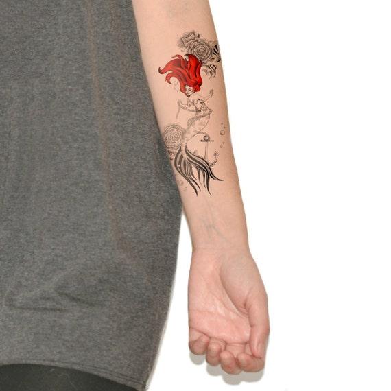 mermaid temporary tattoo temporary tattoos large by