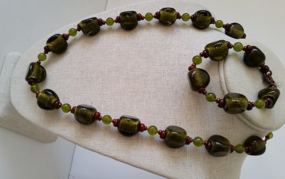 """GREEN NECKLACE & BRACELET Set. Olive Peridot Green Silver-Foil Glass Beads with Brown and Copper. 23"""" Necklace, 6-1/2"""" Bracelet."""