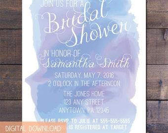 Blue Watercolor Bridal Shower Invitation