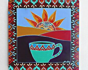 Sunrise During Coffee Original Folk Art Patining on a 8x8 Wood Panel titled Morning Rituals Happy Positive Art