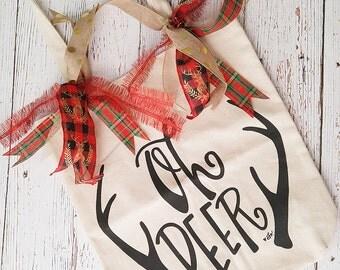 Canvas Tote Bag - Reusable Bag - Christmas Tote - Library Bag - Dance Bag - Shabby Chic Bag - Burlap Bag - Christmas In July