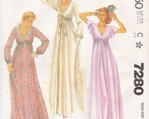 Robe and Nightgown V-Neckline High Waisted Ruffled Neckline Flared Sleeves Long Nightgown Vintage McCall's Pattern 7280 Misses' Size 10 12