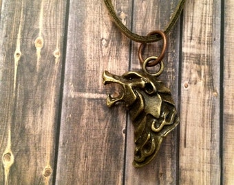Men's Howling Wolf Head Necklace - Antique Bronze Tone Pendant - Green Faux Suede Cord - Steampunk