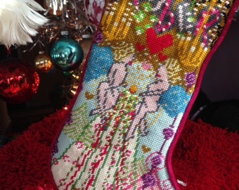 custom designed needlepoint Christmas stocking, angel stocking, modern stocking, stocking with name, girl's stocking, contemporary stocking