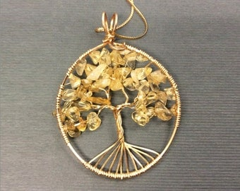 Tree of Life Pendant, Citrine Tree of Life necklace pendant, Citrine Gemstone, November birthstone,  wire wrapped Tree of Life