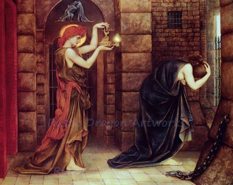 "Evelyn De Morgan ""Hope in a Prison of Despair"" 1887 Reproduction Digital Print  Sadness Hope Shining a light Solution Answer to Prayers"