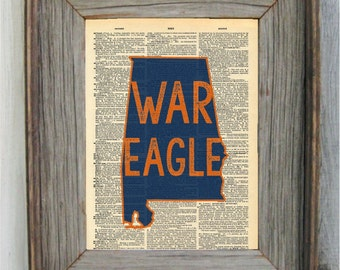 Auburn Print. WAR EAGLE. Dictionary Art Print.