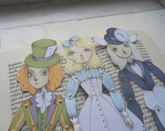 Alice in Wonderland Articulated Paper Dolls - Alice, Mad Hatter, White Rabbit, Illustration, Digital Print, Gift Ideas for Book Lovers, DIY
