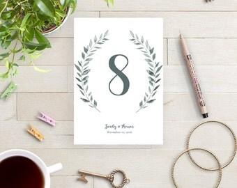 Wedding Table Numbers template rustic printable numbers | Leaves wreath | Royal Gardens | 4x6 and 5x7 numbers Editable printable