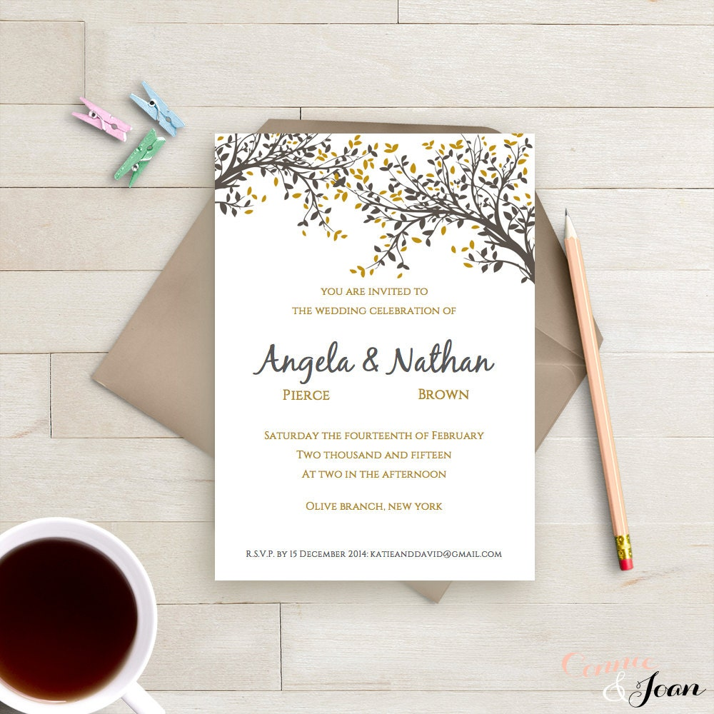 Diy printable wedding invitation template black gold leaves for Diy printable wedding invitations