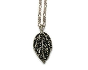 Leaf Necklace - Leaf Charm Necklace - Double Sided Leaf Necklace - Leaf Jewelry - Silver Jewelry