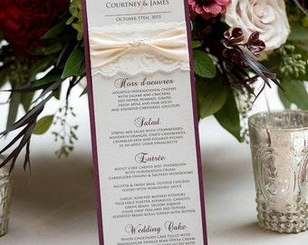 Blush and Gold Wedding Menu - Ivory Lace Wedding Menu - Vintage Menu - Couture Wedding Menu - Vertical Long Menu  (THE KNOT MENU)