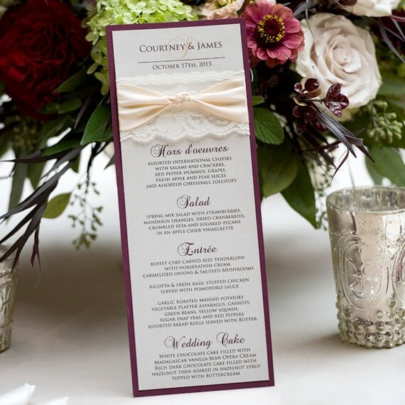 Blush and Gold Wedding Menu - Ivory Lace Wedding Menu - Vintage Menu - Couture Wedding Menu - Vertical Long Menu  (THE KNOT MENU)