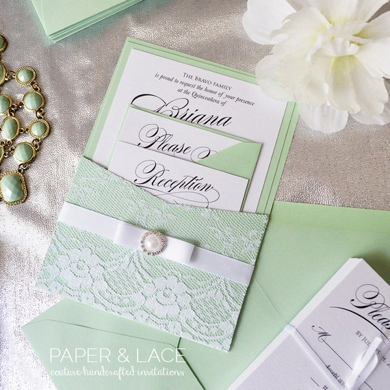 BRIANA - Lace Pocket Quinceañera Invitation - Mint Green and White Lace Invite with Pearl Button - Quince - Sweet Sixteen Invitation