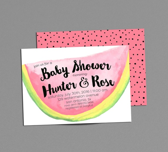 May The 4th Be With You Invitations: Items Similar To Watermelon Couples Baby Shower Invitation