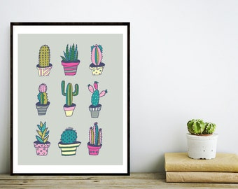 Printable Southwest Cactus Art Print Home Decor, Desert Cactus, Botanical Art, Summer Art, Desert Succulent Plant, Digital Download Print