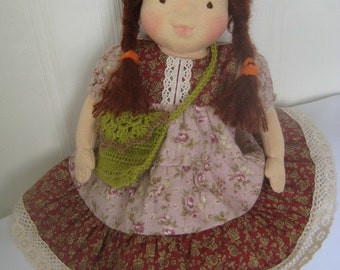 "Waldorf doll 16"", waldorf fabric doll, steiner doll, cloth doll, gift for girl, organic doll, waldorf toy"