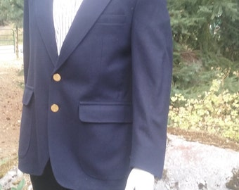 Vintage Mens Navy Blue Wool Blazer, Gold Buttons - Size 42
