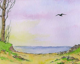 Watercolour, Pen and Ink Seaview. Original Painting 'To the Beach'