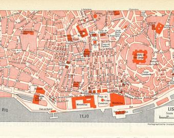 1959 Lisbon Portugal Vintage Map
