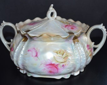 RS Prussia Porcelain Covered Cracker Jar Biscuit Jar Mold 536 Satin Tiffany Luster Finish Art Nouveau Period Decor