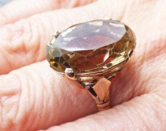 Vintage 14k Smoky Topaz Ring 14k Gold Large Oval Topaz Ring Vintage Ring Retro Ring November Birthstone Circa 1940's Size 7
