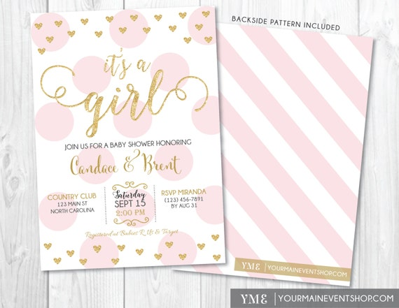 It's a Girl Baby Shower Invitation • Heart Pink and Gold Baby Shower Invite • Girl Baby Sprinkle Printable Invitation