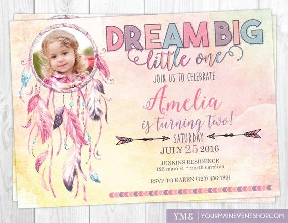 Dreamcatcher Boho Birthday Invitation • Tribal Feathers Watercolor Dream Catcher Invite Printable • Dream Big Little One