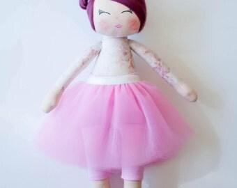 Fabric doll Rag doll, ballerina doll, cloth doll, handmade doll, pink, white, blonde hair, gift for a girl